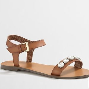 J. Crew Factory Jeweled Ankle Strap Sandals